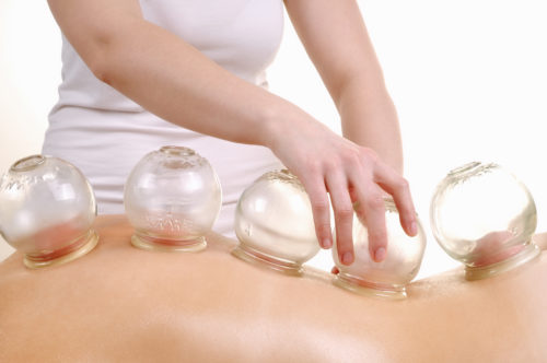 cupping massage isolated on white
